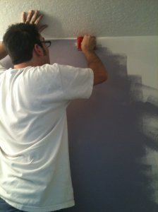 Tadd painting the powder room.